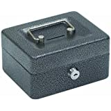 "Hercules CB0604 Key Locking Cash Box, 6"" x 4.62"" x 3"", Recycled Steel, Silver Vein"