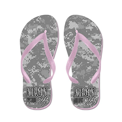 CafePress Army Wife, ACU - Flip Flops, Funny Thong Sandals, Beach Sandals Pink