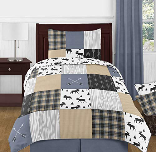 (Sweet Jojo Designs Blue, Tan, Grey and Black Woodland Plaid and Arrow Rustic Patch Boy Twin Kid Childrens Bedding Comforter Set - 4 Pieces)