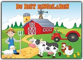 Bauernhof Einladungskarten Kindergeburtstag Bauer Mit Tieren U0026 Traktor (10  Stück) Trecker Kuh Huhn Schaf