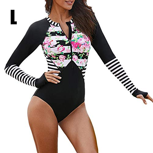 Long sleeve zipper one-piece swimsuit bodysuit swimsuit, One-piece swimsuit with floral print and stitching. Quick-drying wetsuit (Best Countertop Toaster Oven 2019)