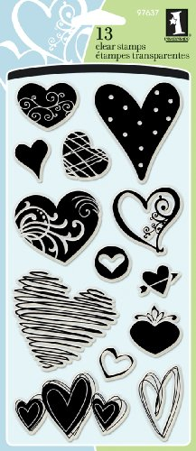 - Inkadinkado Hearts Clear Stamp Set for Arts and Crafts, 13pc