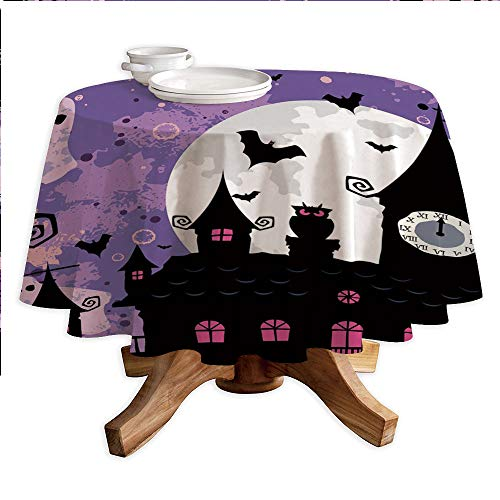 Vintage Halloween Round Polyester Tablecloth,Halloween Midnight Image with Bleak Background Ghosts Towers and Bats Decorative,Dining Room Kitchen Round Table Cover,70