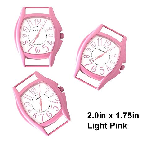PlanetZia 2pcs Colored Rectangle Ribbon Watch Faces for Your Interchangeable Beaded Bands TVT-3382C (Lt.Pink)