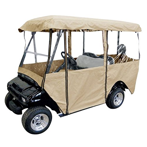 LOVSHARE 4 Passenger Water Proof Golf Cart Enclosure Travel 4-Sided Flat Top Golf Car Cover Fits Most Four-Person Golf Carts EZGO Club Car Yamaha -  CARCO1617
