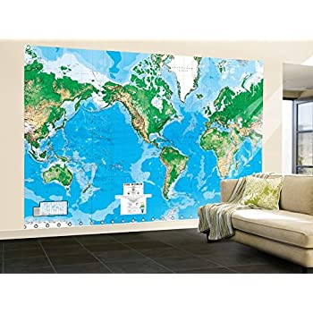 Environmental graphics giant world map wall mural dry erase world map paper wall mural gumiabroncs Choice Image