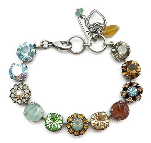 Mariana Silver Plated Swarovski Crystal Bracelet Brown Blue Green Mosaic 1329 Forget Me Not