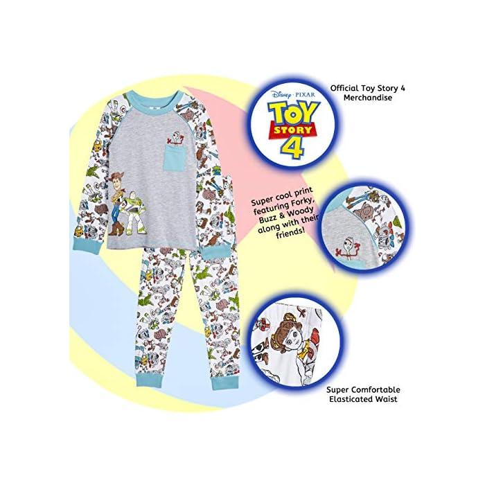 51hVcQcXHqL ? ¡ PIJAMA EXCLUSIVO DE TOY STORY 4 DE DISNEY PIXAR!: Estos pijamas infantiles son imprescindibles para todos los fans de Toy Story 4. Las características de este adorable pijama son: Woody y Buzz Lightyear en la parte delantera, un pequeño bolsillo frontal con un bonito estampado de Forky en la parte superior, en todas las mangas y la parte inferior, puños elásticos en las mangas y el detalle del cuello. Camiseta de manga larga y pantalones largos. Ideal para dormir o para los domingos caseros ? ¡ CON TUS PERSONAJES FAVORITOS DE TOY STORY 4! : Disfrute de estos cómodos pijamas bebe y pijamas niño para dormir. ¡Con Woody, Buzz Lightyear, Betty Bo Peep, Jessie La Vaquera, Slinky, Rex, Forky, Hamm, Mr y Mrs Potato, Barbie, Duke Caboom, Alien, Ducky y Bunny, Gabby Gabby y Perdigón! Pijamas novedosos con licencia oficial adecuados para niños pequeños e infantes, será un conjunto de pijama que no querrán quitarse. 100% Algodón