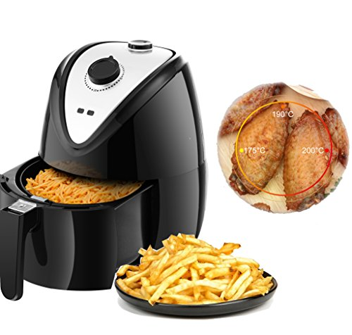Professional Electric 1400W Air fryer - Multi-functional Oil Free Smokeless Cooker - 2.6QT Capacity Air Deep Fryer W/ Timer&Temperature Control&Detachable Basket Handles For Low-Fat Healthy Food