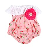 Slowera Baby Girls Cotton Tube Tops Bodysuits with Big Flower (Pink Strawberry, L:2-3 Years)
