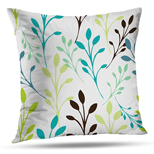 KJONG Aqua And Tan Vines Zippered Pillow Cover,18X18 inch Square Decorative Throw Pillow Case Fashion Style Cushion Covers(Two Sides Print)