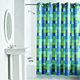 Hookless RBH40WM04F Checkmate Polyester NO Line with Flex-On Rings Shower Curtain, Green/Blue, 71 x 74,
