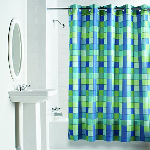 Hookless Checkmate Fabric Curtain Shower Curtains 71 X 74