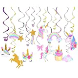 Bozoa 30 Ct Unicorn Hanging Swirl Party Decorations, Unicorn Swirl Ceiling Decorations for Birthday Party, Unicorn Theme Party Supplies, Pretty Swirl Hanging Cards