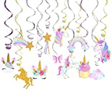 30 Ct Unicorn Hanging Swirl Party Decorations, Unicorn Swirl Ceiling Decorations for Birthday Party, Unicorn Theme Party Supplies, Pretty Swirl Hanging Cards