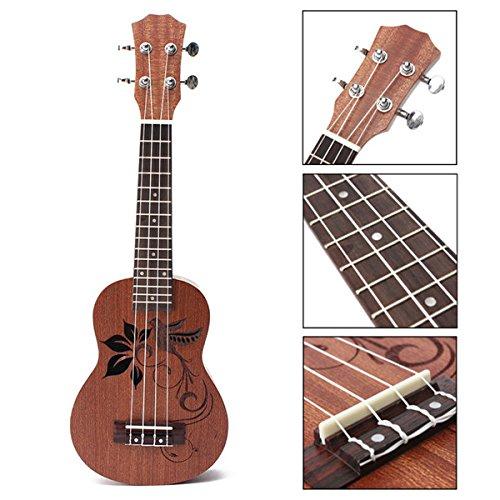 Rosewood Handle Leather - New 21 Inch Soprano Ukulele Uke Sapele 15 Frets Musical Instrument Flower By KTOY