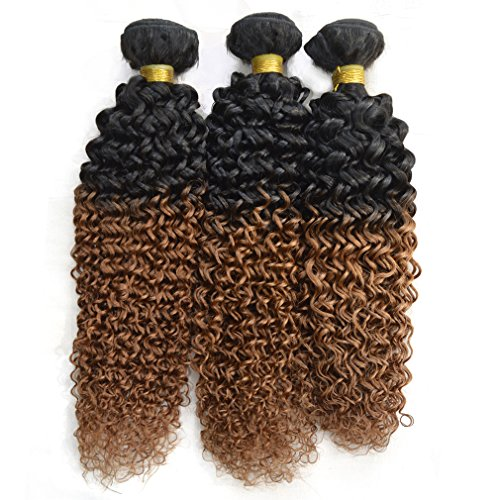 Babe Hair Best Balayage Hairstyle for 2 Tone Brazilian Short Jerry Curly 12 14 16 Inch Remy Hair Extensions 100% Human Hair Weave in Natural Black and Auburn (1b/30) Ombre Color Ideas, 3 Bundles (Ideas For Hairstyles)