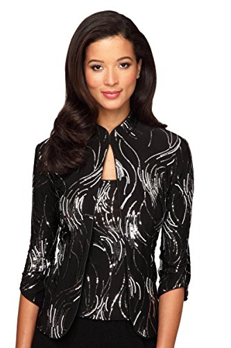 Alex Evenings Women's Mandarin Collar Twinset S Black Silver by Alex Evenings