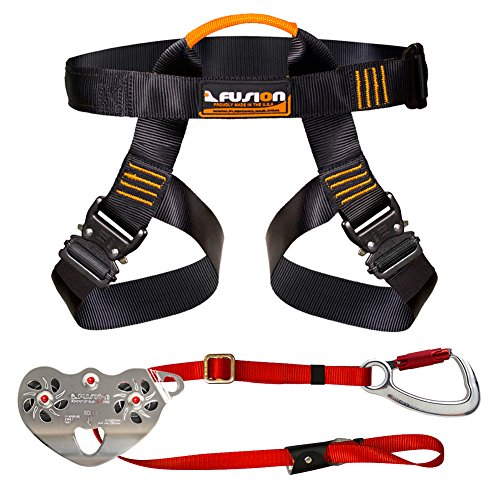 Fusion Climb Pro Backyard Zip Line Kit Harness Lanyard Trolley Bundle FK-A-HLT-17