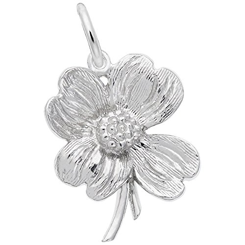 Dogwood Charm In 14k White Gold, Charms for Bracelets and Necklaces - Dogwood Charm
