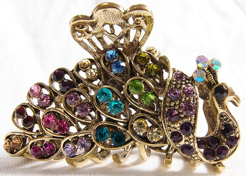 New Fashion Colorful Austrian Crystal Brown Metal Peacock Hair Claws Clips Pins