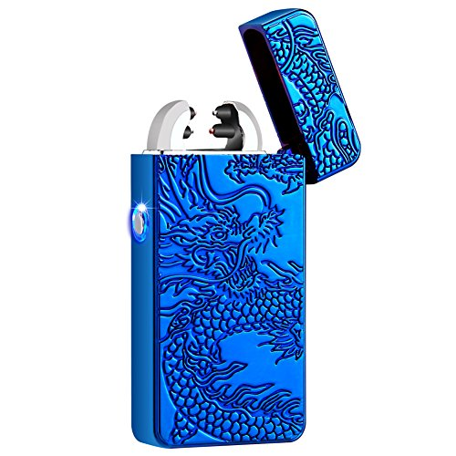Kivors USB Rechargeable Windproof Flameless Electronic Plasma Pulse Double Arc Lighter Chinese Dragon Loong Lighter