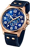 TW Steel Pilot Blue Dial Chronograph Rose Gold PVD Steel Blue Leather Mens Watch TW407