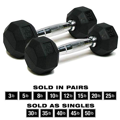SPRI Dumbbells Deluxe Rubber Coated Hand Weights All-Purpose Color Coded Dumbbell for Strength Training (Set of 2) (25-Pound)