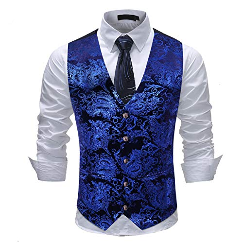 Cloudstyle Mens Single Breasted Vest Dress Vest Slim Fit Button Down Prom Formal Suit Vest Waistcoat Blue ()