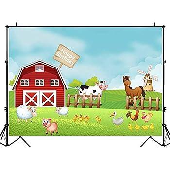 amazon com mehofot red farm birthday backdrop cartoon barnyard cow