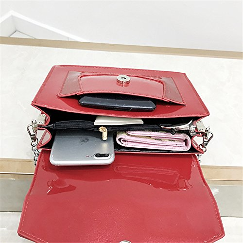 Hit Strap Magnetic Bag Sunbobo Red Bag Shoulder PU Color Retro Simple Messenger Shoulder PU Chain qSnt0Ta