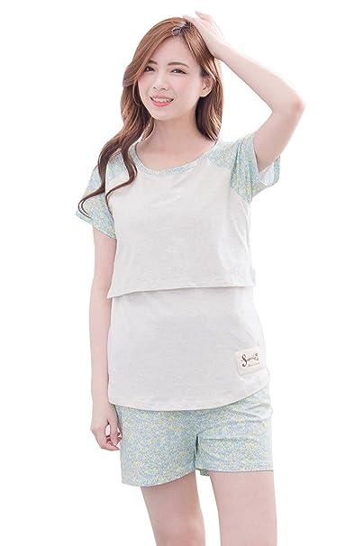 bearsland mujeres del verano algodón Lactancia Materna de maternidad y pijama de lactancia Verde verde S
