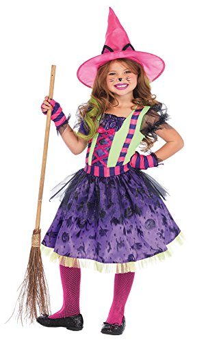 UHC Girl's Kitty Cat Witch Outfit Kids Toddler Fancy Dress Halloweem Costume, XS (3-4T) -