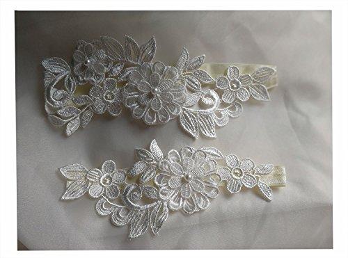 Lace bridal garter set wedding garter lace set flower garter lace (Lace Bridal Garter Set)