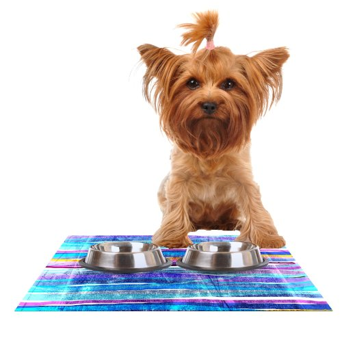 Kess InHouse Frederic Levy-Hadida Fancy Stripes Dark bluee  Feeding Mat for Pet Bowl, 18 by 13-Inch