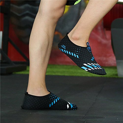 L-RUN Unisex Wasser Schuhe Barfuß Haut Schuhe für Dive Surf Swim Beach Yoga Grau Blau