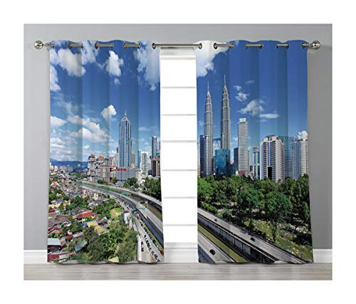 Goods247 Blackout Curtains,Grommets Panels Printed Curtains for Living Room (Set of 2 Panels,52 by 84 Inch Length),City