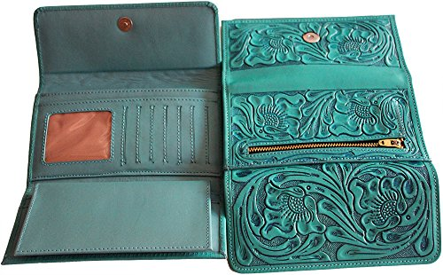 - Handmade Womens Wallet. Rich and Deep Hand Tooling. Checkbook Holder attachment (Turquoise)