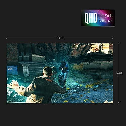 Acer Nitro XV340CK Pbmiipphzx 34″ QHD (3440 x 1440) IPS Gaming Monitor with AMD Radeon FREESYNC, 144Hz, 1ms VRB, HDR10 Technology, (2 x Display Ports, 2 x HDMI 2.0 & 2 x USB 3.0 Ports), Black 51hVf8XytYL