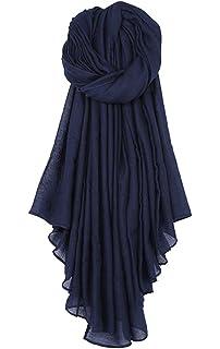 DELEY Femmes Coton lin Couleur Unie Casual Longue Écharpe Châle Étole  Foulards 85dda3415bb