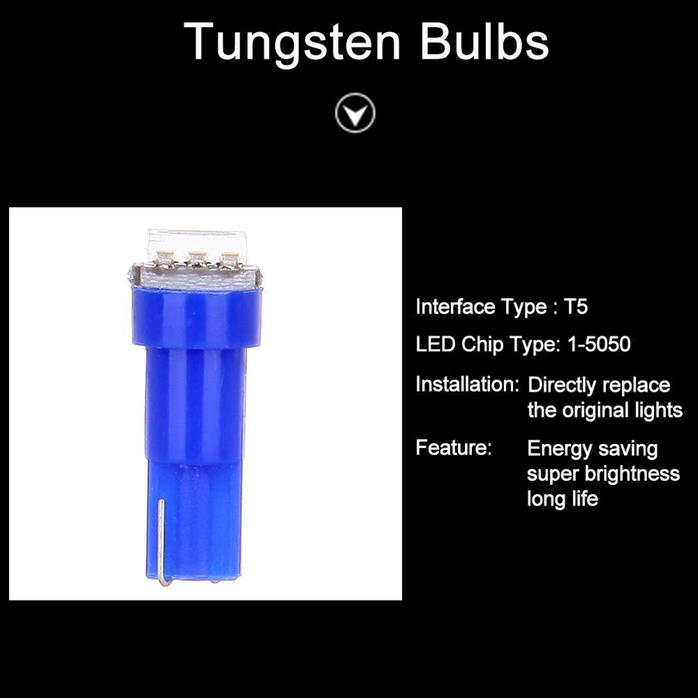cciyu 20x Blue T5 Blue Dashboard Instrument Panel Instrument Speedometer Gauge Cluster 37 73 74 79 17 57 5050 1-SMD LED Light Bulb 12V red