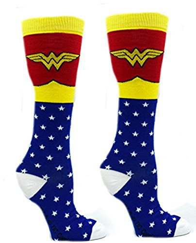 Wonder Woman Superhero Socks  Shoe Size  4 10  Knee High  Blue
