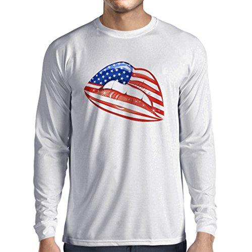 Long Sleeve t Shirt Men Patriotic USA Lips- American Flag Clothing (Large White Multi - Tanger De Outlet
