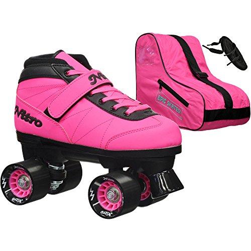 Epic Skates Epic Nitro Turbo Pink Quad Speed Roller Skates Package