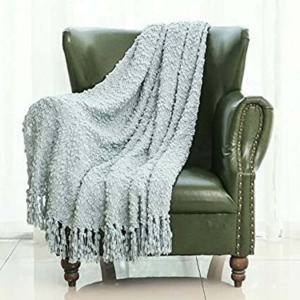 Mika Home Decorative Sofa Couch Chair Throw Blanket Solid Popcorn Pattern  With Fringe 50X60 Inches,