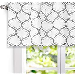 "DriftAway Geo Trellis Window Curtain Valance, Rod Pocket, 52""x18"" (Gray)"