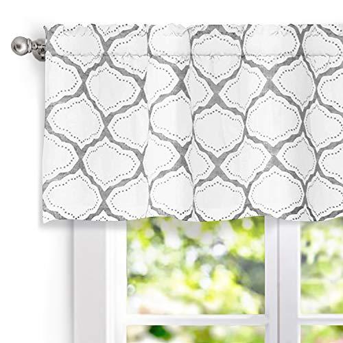 "DriftAway Geo Trellis Window Curtain Valance, Rod Pocket, 52""x18"" (Gray)"