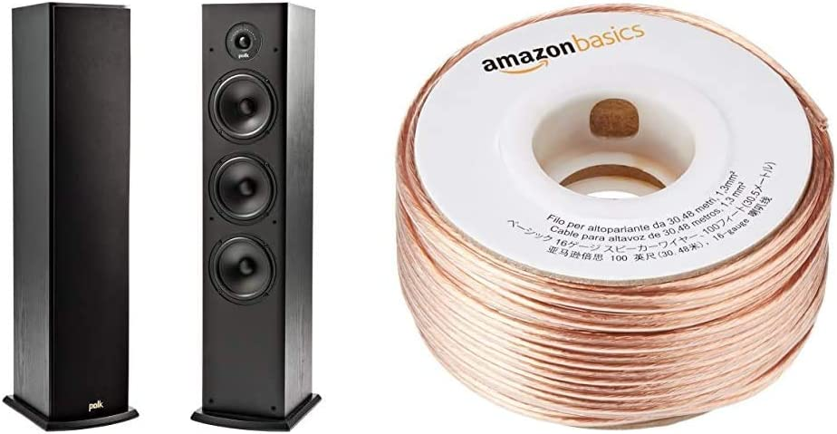 Polk Audio T50 Home Theater and Music Floor Standing Tower Speaker (Single, Black) and AmazonBasics 16-Gauge Speaker Wire - 100 Feet Bundle
