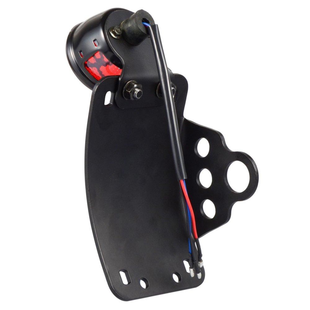 Amazicha STOP LED Tail Brake Light Side Mount 3//4 Axle Hole License Plate Bracket Compatible for Harley Honda Yamaha Suziki Chopper Bobber