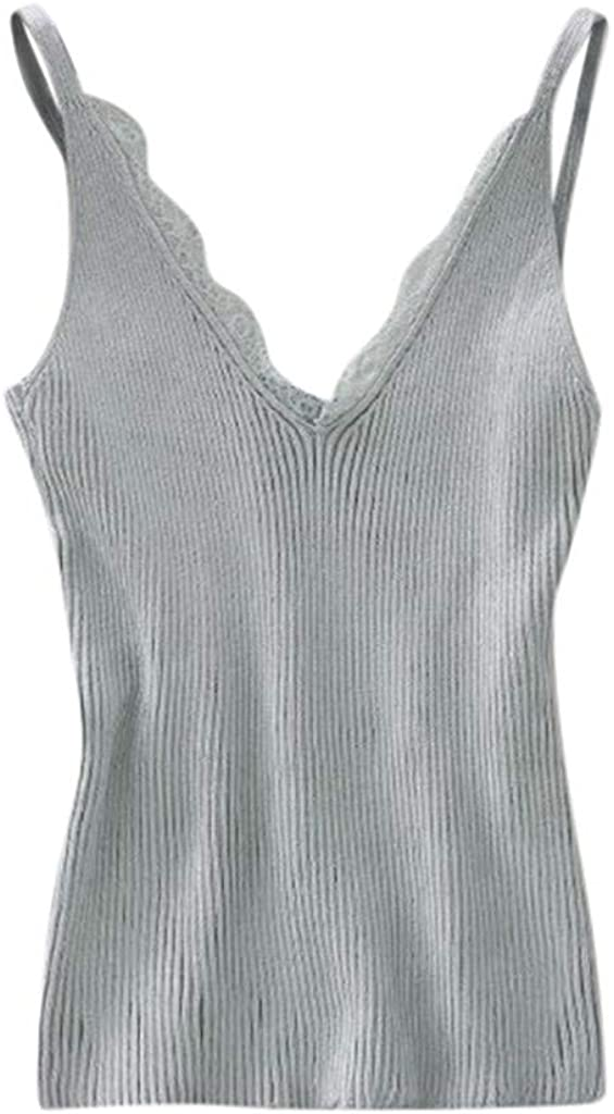 Teresamoon Women Summer Sleeveless Knitting Vest V-Neck Ladies LaceTank Tops